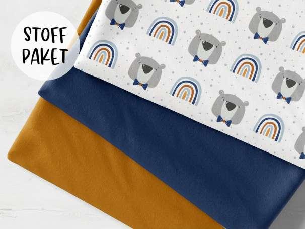 Stoffpaket - Little Bear & Rainbow, blau - ocker