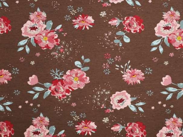 Jersey Stoff - Romantic Flowers - braun