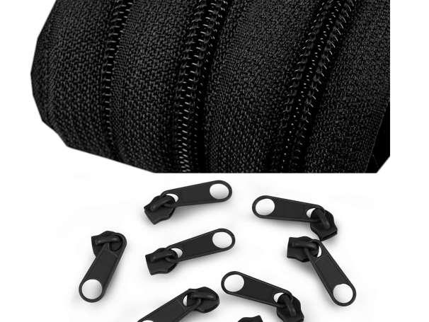 2m Endlos-Reißverschluss + 5 Zipper - breit schwarz