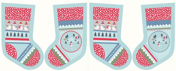 Baumwolle Stoff - PANEL - Snow Day Stockings Icy Blue