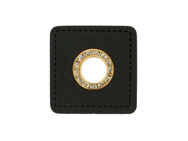 1 Kunstleder-Quadrat mit Glitzer-Öse - 9 mm - schwarz/gold