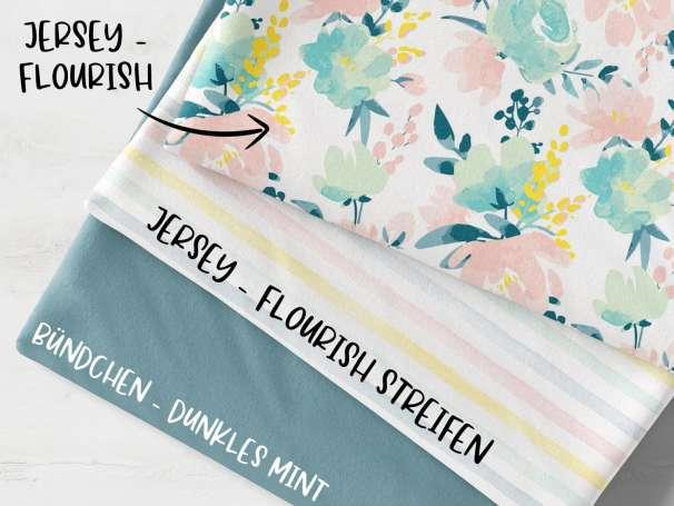 Stoffpaket - Flourish - dunkles mint