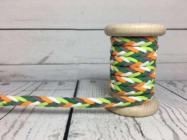 Kordel Leder geflochten - grün / orange