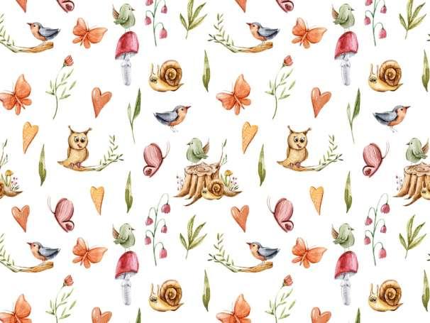 French Terry - Herbstzauber - Eule & Schmetterling