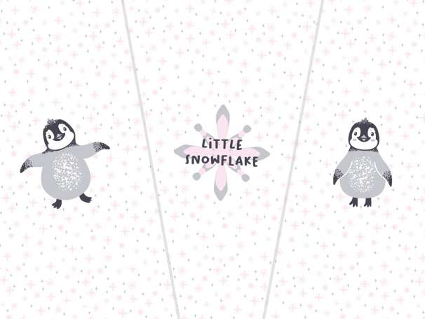 French Terry - PANEL - Pinguin, rosa