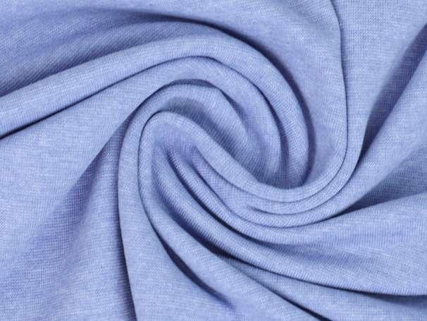 Bündchenstoff - weiß melange - blau