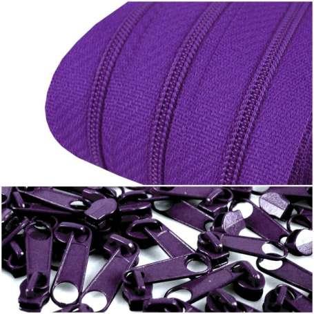 2m Endlos-Reißverschluss + 5 Zipper lila