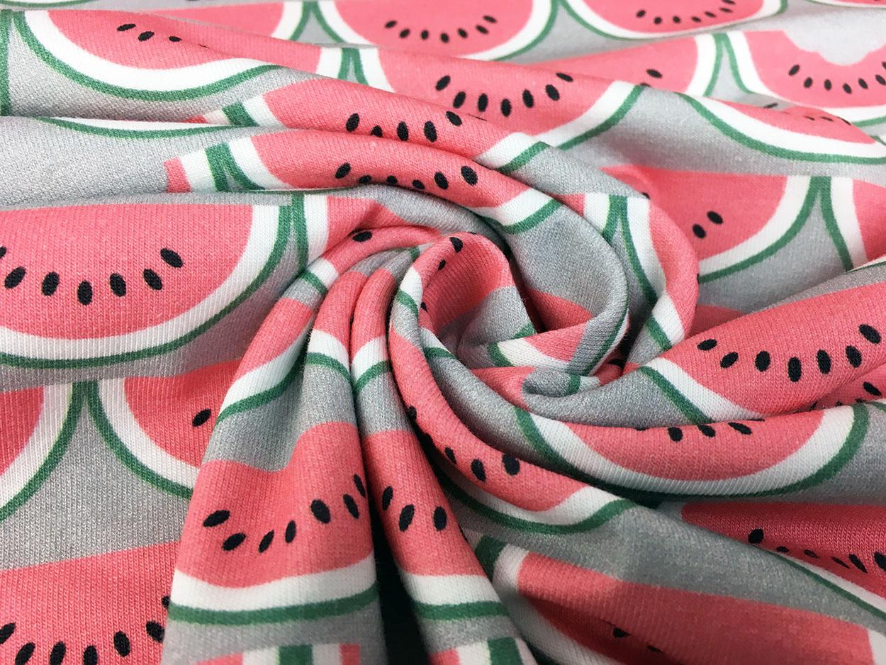 Jersey  Stoff Wassermelone Summer türkis  1m