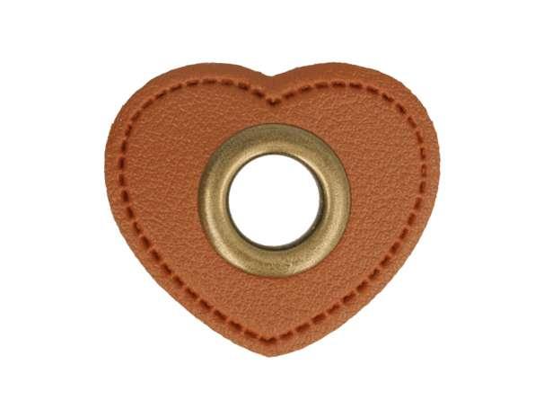 1 Kunstleder-Herz mit Öse - 11 mm - braun/bronze