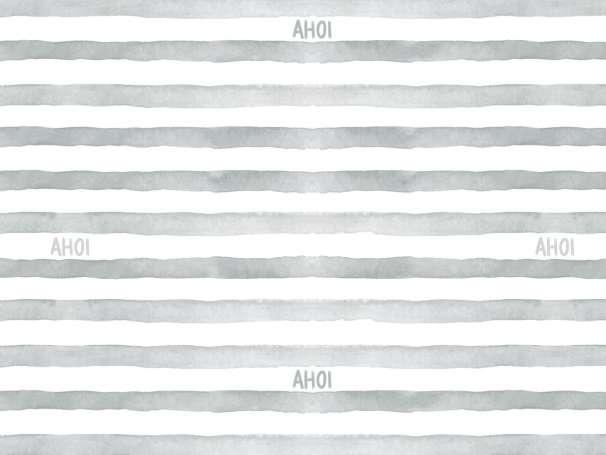 Jersey Stoff - Watercolor Stripes AHOI - grau