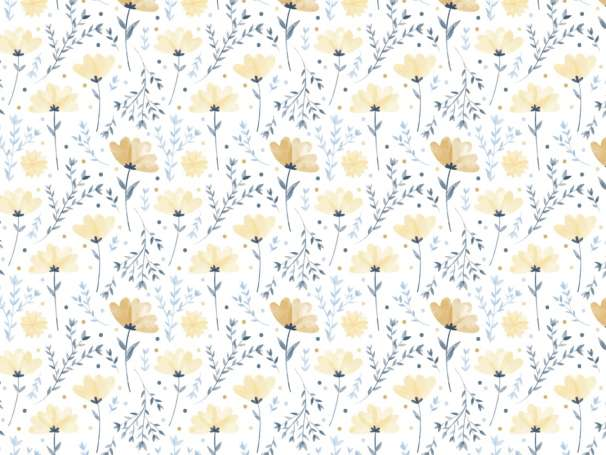 Jersey Stoff - Sommerblümchen, gelb