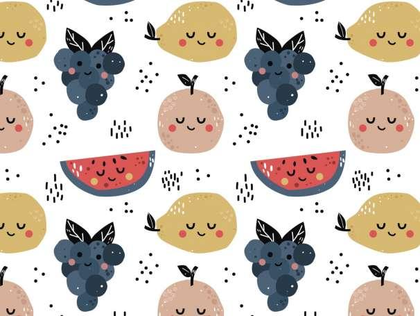 Jersey Stoff - Freche Früchtchen - Melone, Traube