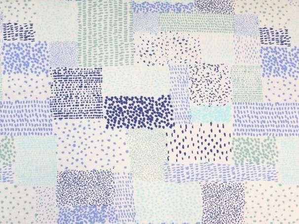 Viskose Jersey Stoff - Rechtecke & Tupfen - blau