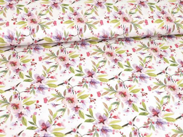 Modal Jersey - Aquarell Blumen & Kleckse