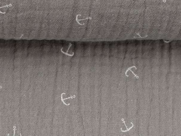 Musselin Stoff - Jeron - Mini Anker, grau