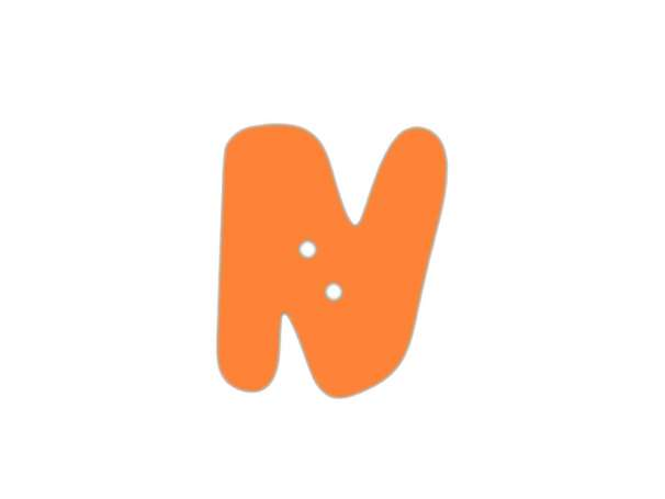Buchstaben Knopf - orange - N
