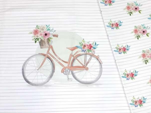 Jersey Stoff - PANEL - Fahrrad, pfirsich