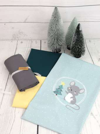 Jersey Stoff - PANEL - Weihnachtsmaus