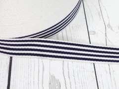 Gurtband - 35 mm - Streifen, creme-marine