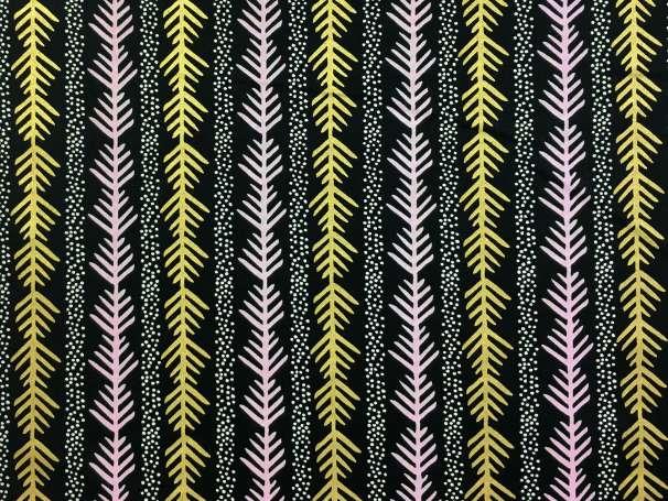 Baumwolle Stoff schwarz/gold - Grafik Tanne