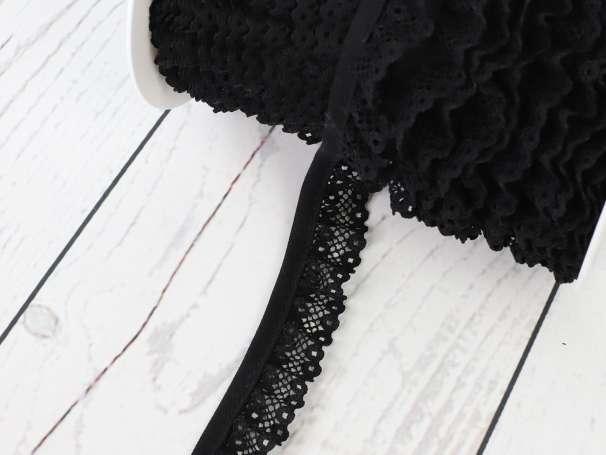 Rüschenband - 20 mm - schwarz