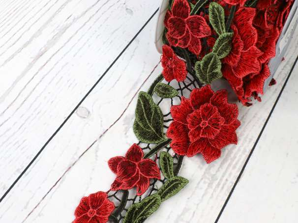 Guipure Spitze - 10 cm - Blumenranke rot