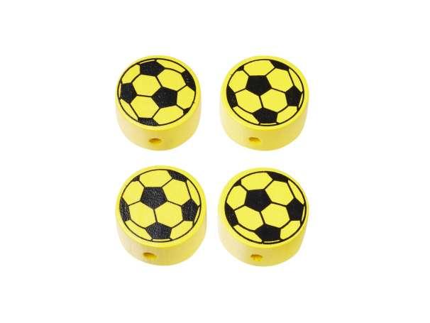 Schnulli-Fußball-Perlen - 4 Stück - gelb/weiß