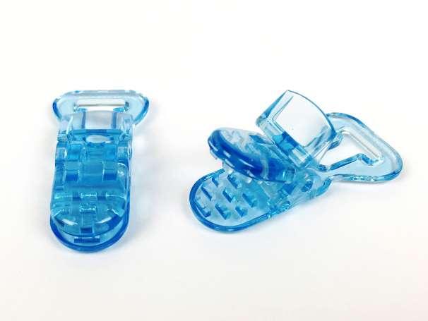 Schnullerclip hellblau - transparent