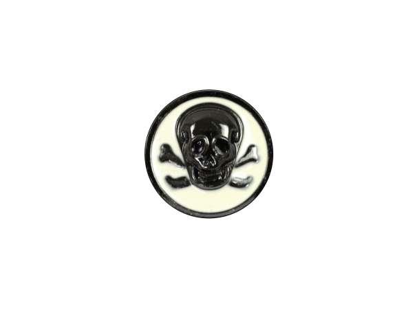 Knopf mit Öse - 18mm - Totenkopf - schwarz/cremeweiß