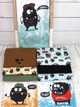 Jersey Stoff - Monster PANEL - Grunge Farben
