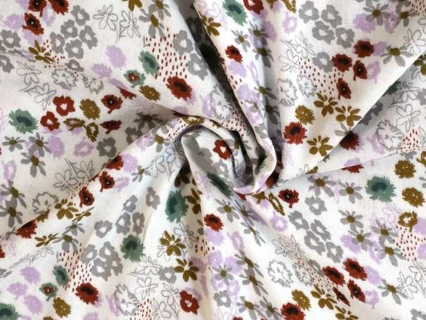 Glatter Musselin Stoff - Blumenbeet - weiß