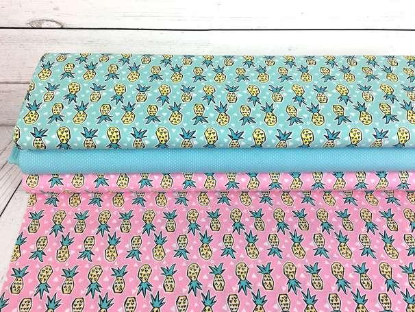 Baumwolle Stoff - Pineapples - Verschiedene Farben mit Pünktchen als Kombistoff-Möglichkeit