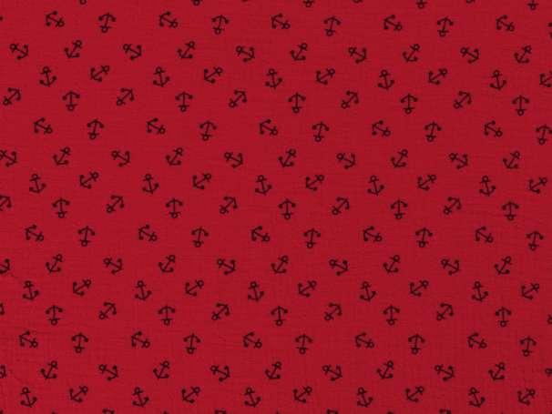 Musselin - Anchor, rot-schwarz