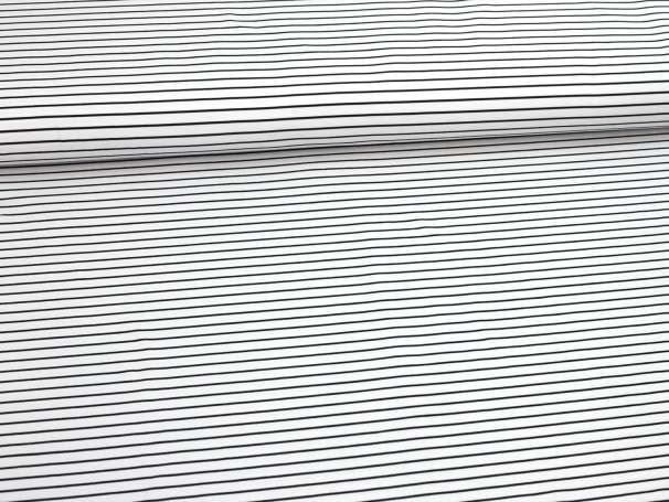 Jersey Stoff - Streifen, black & white