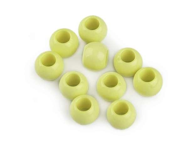 12 Kordel-Perlen - 9x12 mm - limone, dezent glänzend