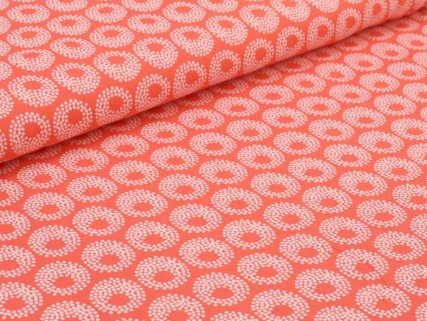 Viskose Stoff - Tupfenkreise - orangerot