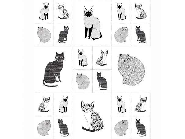 Baumwolle Stoff - Catnip PANEL - Cats Galore