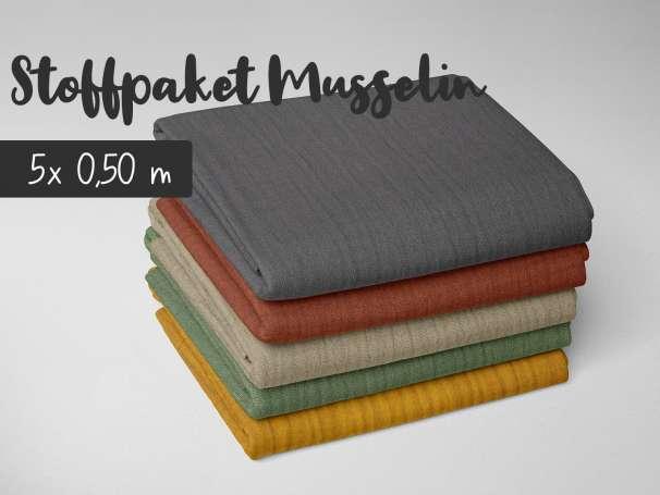 Stoffpaket 2,5m - Uni Musselin - Safari