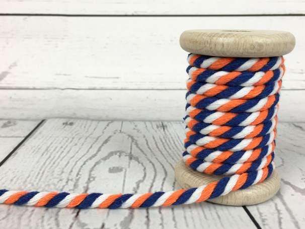 Kordel gedreht - weiß orange blau