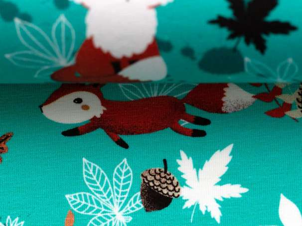 Jersey Stoff - My Little Foxy - Füchse, mint