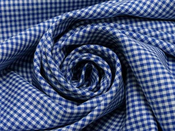 Baumwolle Stoff royalblau/weiß - Klein Kariert