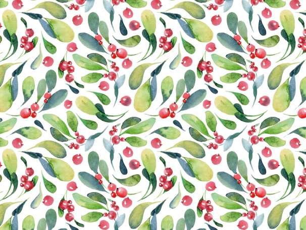 French Terry - Weihnachten Blätter & Beeren - grün