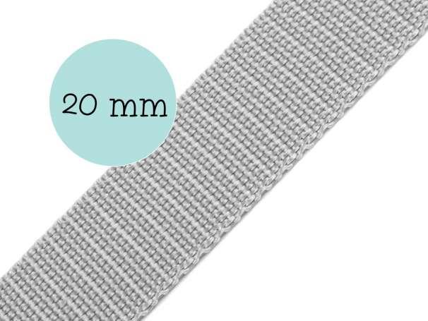 Gurtband - 20mm - silbergrau