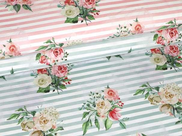 French Terry - Vintage Rose & Stripes - verschiedene Farben