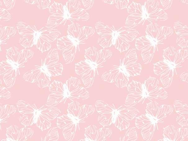 Sommerjersey Stoff - Schmetterlinge - rosa