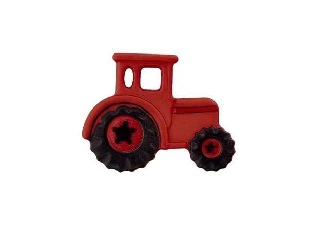 Knopf 23 mm - Traktor - dunkelrot