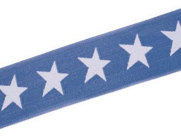 Gummiband STERN, beidseitig - 40 mm - jeansblau,blassblau