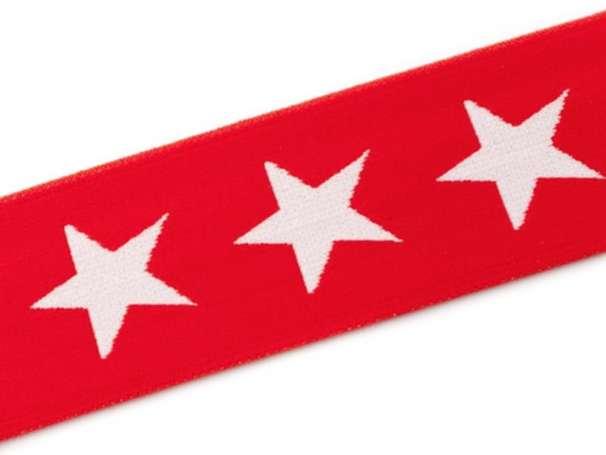 Gummiband STERN, beidseitig - 40 mm - rot,weiß