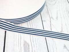Gurtband - 35 mm - Streifen, creme-petrolblau
