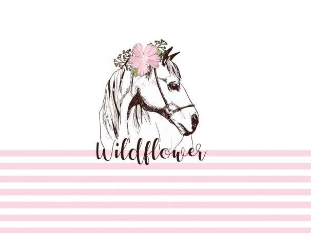 Jersey Stoff PANEL - Pferd Wildflower - rosa